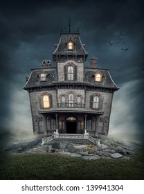 Haunted house on the empty field