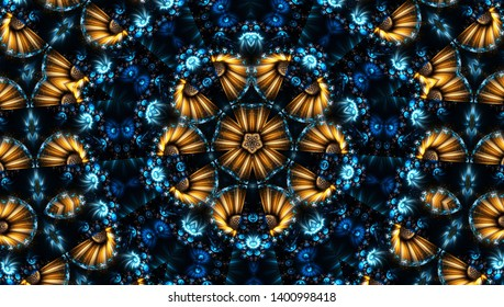 青い抽象的な万華鏡の背景。美しい多色万華鏡の質感。ユニークな曼荼羅のデザイン