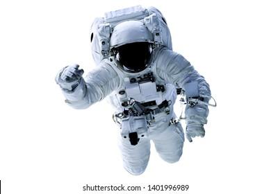 Einzelraumastronaut mit schwarzem Glas auf dem Helm lokalisiert auf weißem Hintergrund. Elemente dieses Bildes wurden von der NASA geliefert