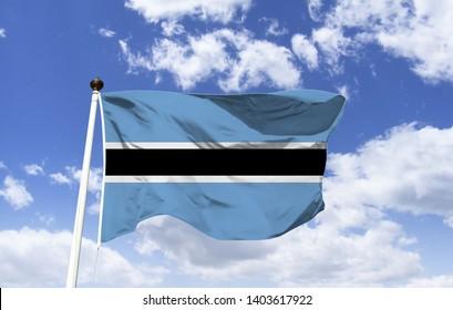 Botswana flag mockup fluttering under a blue sky. In Astral Africa. Blue represents water, rain, black represents racial harmony and zebras. Huge Kalahari Game Reserve. Capital: Gaborone