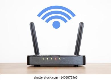 Módem LTE, 5G, 4G, 3G. Versión 2: logotipo de señal wifi azul.