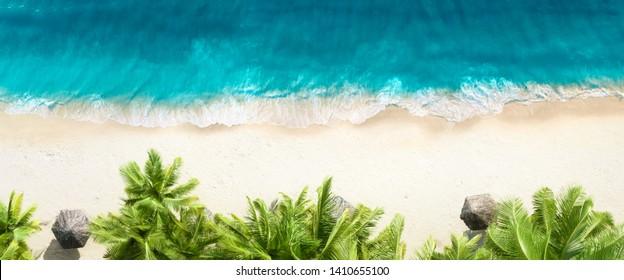 Vista aérea superior en la playa de arena, palmeras y mar