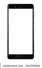 black smart phone with white screen isolated white background