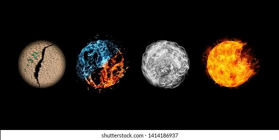Cuatro elementos aislados en negro.