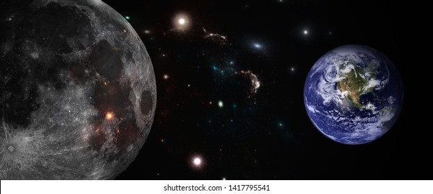 Earth, Moon, and the universe. The view from the moon looking at the world.
