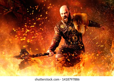 Viking with axe standing in fire, battle in action