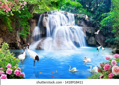 Schöner Wasserfall, fantastische Vögel, Bäume und Rosen mit Meer