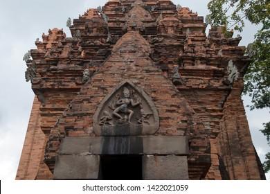 Nha Trang Vietnam, Po Nagar temple with Durga, the slayer of the buffalo-demon on the pediment above the entrance