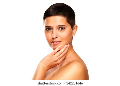 Close-up; Beauty Shot Of A Smiling; Young; Beautiful; Brown Eyed; Brunette Woman Over Natural Blue Background. Special Care And Attention For The Skin Retouching.
