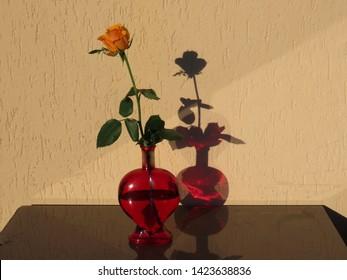 Tacky rote herzförmige Glasflasche mit einer einzelnen orange Rose darin, auf grauem Tisch durch gelbe Wand. Durchscheinende Sonne macht den Schatten ebenfalls rot