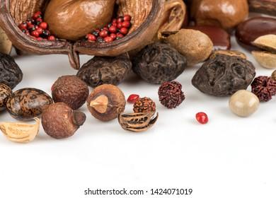 Getrocknete Kräuterfrüchte auf weißem Hintergrund (einschließlich seltener Wildpflanzen)