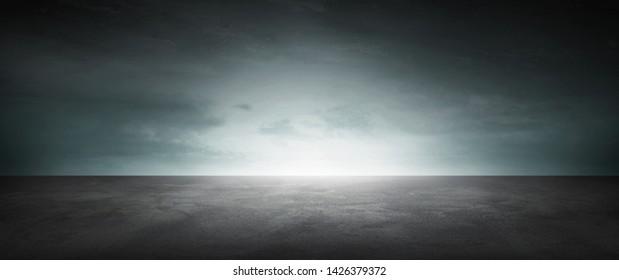 Black Infinite Background Concrete Floor Dark Landscape Blue Sky Horizon