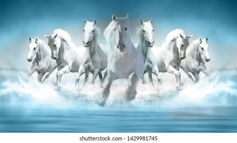 3D Wallpaper Seven Horses running