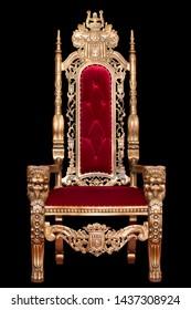 Roter königlicher Stuhl lokalisiert auf schwarzem Hintergrund. Platz für den König. Thron. Zarenstuhl.