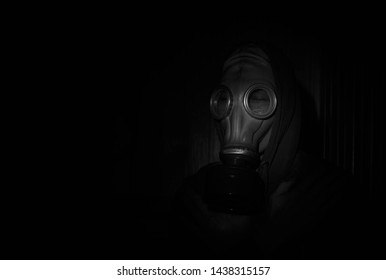 Man in gas mask. Health protection