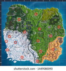 Fortnite 'Holiday Tree Locations Kartbild