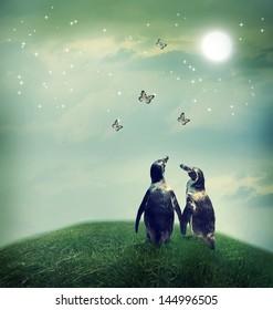 Twee pinguïnvriendschap of afbeelding van het liefdesthema bij een fantasielandschap