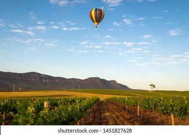 Globo aerostático pasando por un viñedo en Hunter Valley