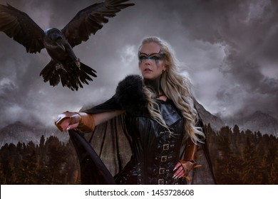 landscape of Norwegian fjords, Viking blonde with war shield, sword and a black crow as a battle animal