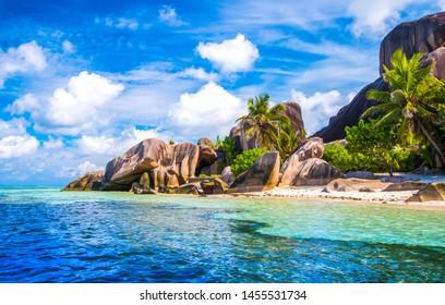 Der berühmte Strand Source d'Argent auf der Insel La Digue auf den Seychellen
