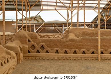 The adobe wall city of Chan Chan made by the Chimu civilization near Trujillo, Peru.