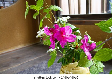 """Ikebana.a Japanese traditional floral arrangement.old Japanese house that is a historical building.""""Meijimura"""", the sacred place of the anime """"kimetsu no yaiba"""""""