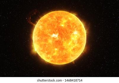 太陽系の暗い星空に対する明るい太陽、NASAによって提供されたこの画像の要素