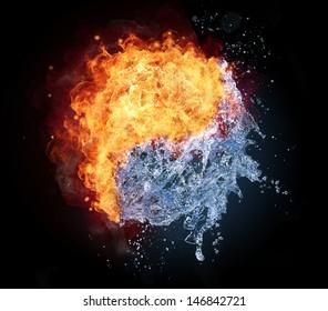 Yin Yang Symbol aus Wasser und Feuer, lokalisiert auf schwarzem Hintergrund