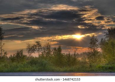 Dawning, dawnbreak on road, sunrise