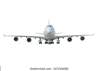 Aviones con tren de aterrizaje extendido, vista recta aislado sobre fondo blanco.