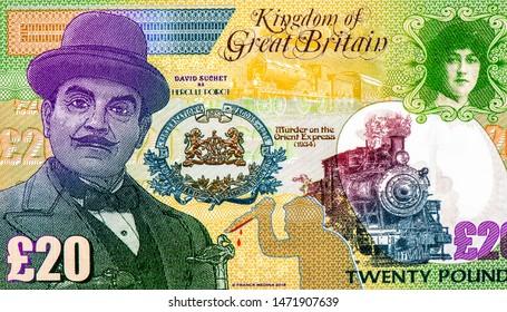 エルキュールポアロは、アガサクリスティによって作成された架空のベルギーの探偵です。ポワロは、20ポンドの英国ファンタジー紙幣でクリスティーの最も有名なものの1つ、ファンシーポリマーマネーです。応用通貨の概念。