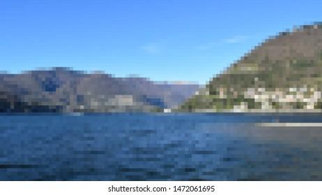 Pixelated natuurlijke achtergrond met bomen, meren en bergen, in Italië Comomeer.