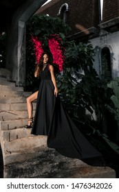 誘惑のコンセプトです。情熱的な顔の女性は役割ゲームをします。赤い翼の黒いドレスの女の子のセクシーな悪魔、階段の上に立っている欲望に満ちた悪魔