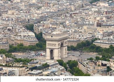 Triumphbogen in Paris. Von oben betrachten.