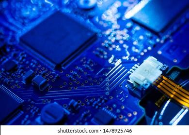 Placa de circuito. Chip digital de placa base. Tecnología de hardware de computadora electrónica. Procesador de comunicación integrado. Componente de ingeniería de información. Antecedentes de la ciencia de la tecnología.