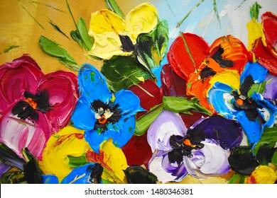 油絵の断片。鮮やかなマルチカラーの花を描きました。抽象的なカラフルな背景