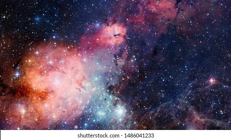 High definition star field, colorful night sky space. Nebula and galaxies in space. Astronomy concept background. Elements of this image furnished by NASA