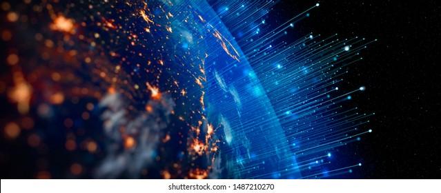 インターネットビジネスのための通信技術。グローバルな世界のネットワークと地球上の電気通信暗号通貨とブロックチェーンとIoT。NASAによって提供されたこの画像の要素