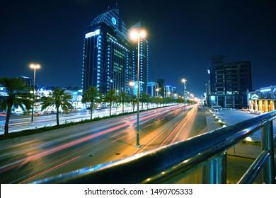 Riyadh, Saudi Arabia's capital and main financial hub-King Fahad Road at night