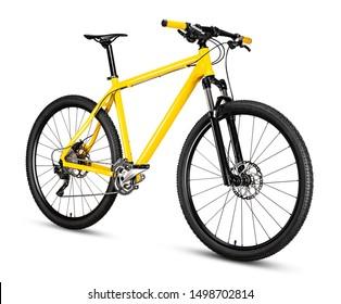 厚いオフロードタイヤを備えたイエローブラック29erマウンテンバイク。自転車mtbクロスカントリーアルミニウム、白い背景で隔離のサイクリングスポーツ輸送の概念