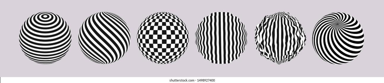 ストライプサークルセット。黒と白の3Dアート。目の錯覚のパターン。広告、マーケティング、プレゼンテーション用の3Dベクトルイラスト。