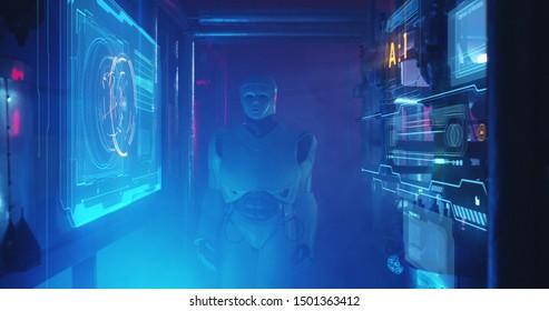 Medium shot of a humanoid maintenance robot examining holographic display in a smoke filled lab