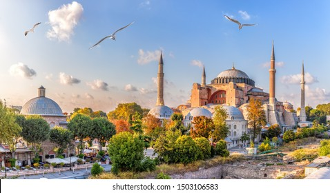 Beautiful view on Hagia Sophia in Istanbul, Turkey