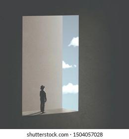 Mann, der den Himmel beobachtete, trat durch ein surreales Fenster; abstraktes Konzept