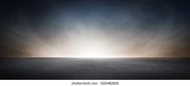 Black Concrete Floor with Dramatic Sky Horizon Presentation Background Scene