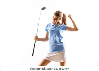 Teenager golfer girl over isolated white background