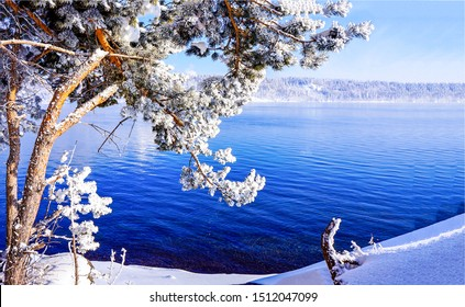 Winter snow forest lake water view. Winter lake water view. Winter snow lake water. Winter snow lake water landscape