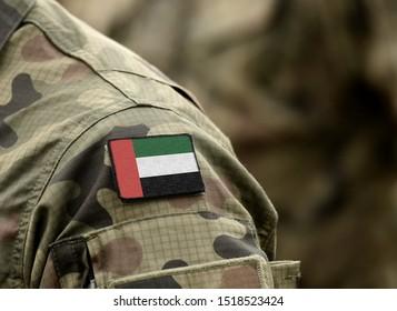 Flag of United Arab Emirates (UAE) on military uniform (collage).
