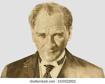 Mustafa Kemal Ataturk - first president of Turkey. Portrait photography made with turkish banknote