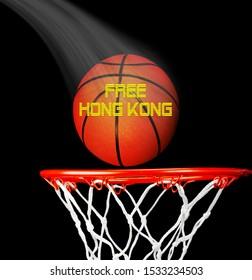Kostenlose Unabhängigkeitsbewegung in Hongkong mit Basketball.